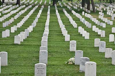 Rows of headstones at Arlington National Cemetery.